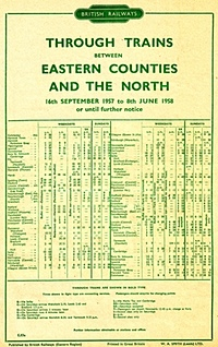BR Timetable Eastern Counties
